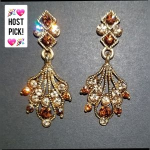💖HP Vintage Gold Topaz & gemstone Earrings NEW